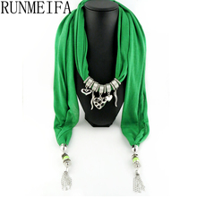 [RUNMEIFA] Hot Selling Fashion Design Retail Women/Lady's Jewelry Necklace Scarf Cotton Scarves Heart Pendant Scarves(China)