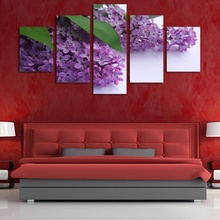 5 Pieces Frameless Canvas Photo Prints Purple Lavender Wall Art Picture Canvas Paintings Home Decor Wall Artwork Giclee Painting(China)