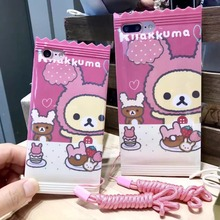 Japan Super Cute Rilakkuma Plushies Bear Candy TPU Case Cover With Lanyard For Iphone 7Plus 5.5inch