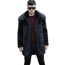 2017 Winter Men Long Faux Mink Fur Coats Male Casual Imitation Fox Fur Collar Thick Warm Outerwear Plus Size 4XL 5XL Black W1108