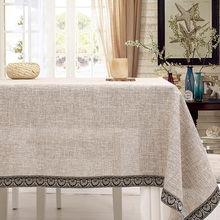 Fabric table cover cotton abstrakte lace Japanese rectangle dining solid linen beige tablecloth natural zakka simple square