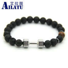 Ailatu New Arrival Men Barbell Jewelry Retail 8mm Lava Rock Stone Beads Energy Fitness Fashion Dumbbell Bracelets(China)