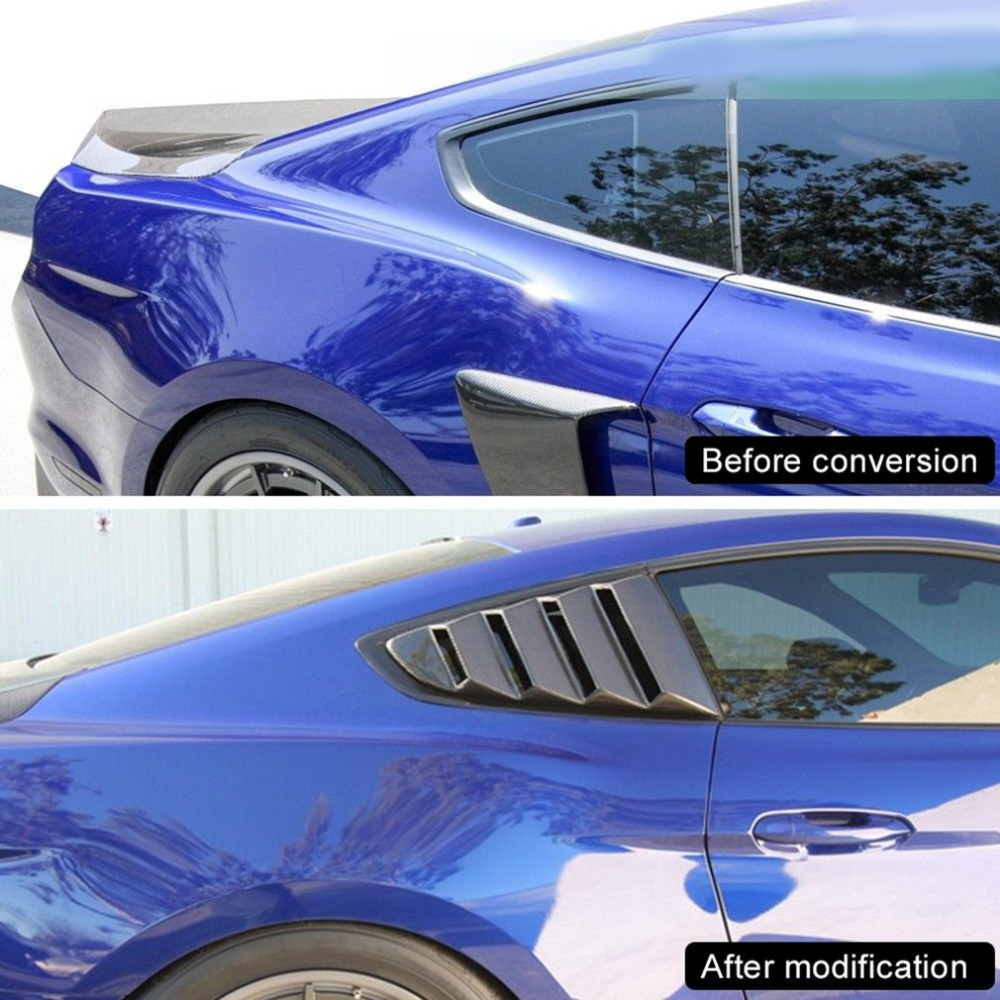New PP Ingot Silver Side Window Louvers GT Style Car-styling Quarter Side Window Scoop Louvers For Ford for Mustang 2015-2017<br>