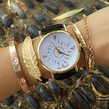 Feather Watches for Women Retro Style Women Watches2016 Ladies Watches Quartz Watches Clocks Gifts for Her Birthday Gift Ideas