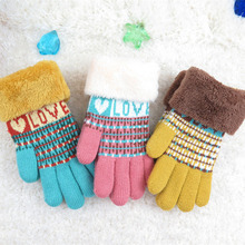 2016 Winter Children Warm Full Finger Gloves Double Layer Cashmere Wool Gloves Knitted Mittens gloves print colorful kids gloves(China)
