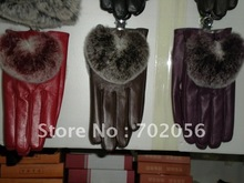 Rex Rabbit Fur Real lambskin leather Gloves skin GLOVES 10pairs/lot #2422