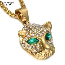 Rhinestone Crystal Leopard Necklace & Pendant gold color Stainless Steel Cool men Personality Jewelry