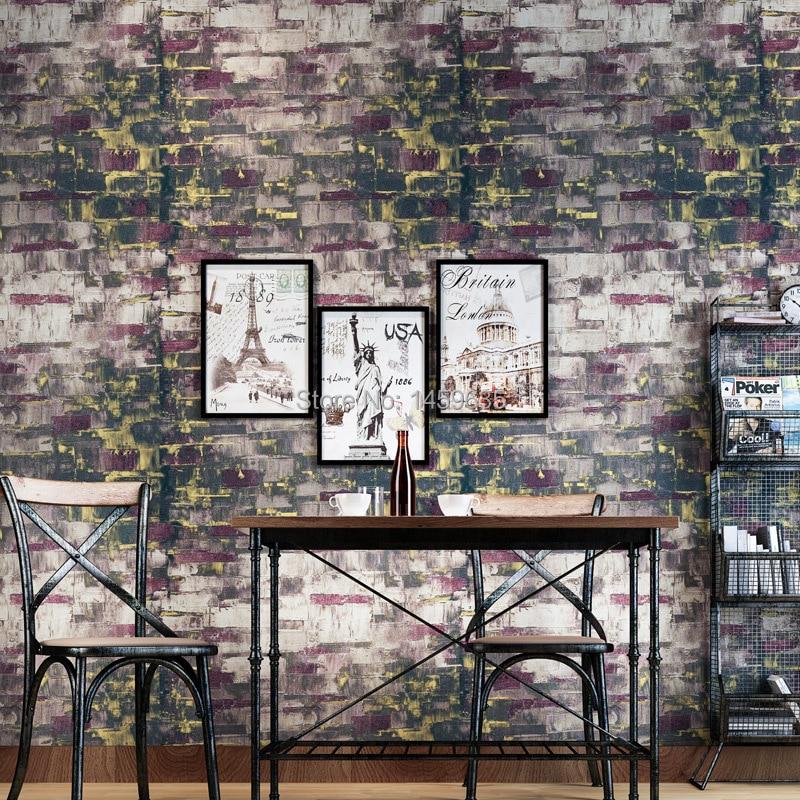 The classical art British style retro wallpaper color brick texture wallpaper living room entrance walkway background wallpaper<br>