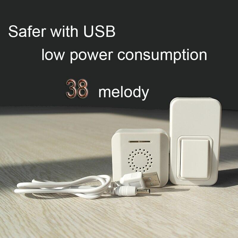 Wireless doorbell Portable USB doorbell, battery-free self-powered door bell waterproof wireless<br>