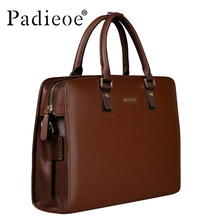 Padieoe Split Cow Leather Men Vintage Laptop Briefcas Luxury Business Men's Retro Leather Messenger Bag Casual Tote Briefcases(China)