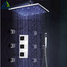 "Wholesale And Retail Bathroom Thermostatic Shower Panel Valve Faucets 12"" Shower Head Body Massage Spray Jets"