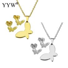 YYW Gold-color Oval Chain Choker Pendant Charm Necklace Stainless Steel Jewelry Sets Butterfly Animal Stud Earring Necklace Sets