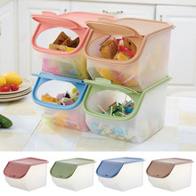 Dried Food Storage Sealed Box Plastic Kitchen Cereal Flour Rice Bin Bean Grain Container Organizer With Measuring Cup J2(China)