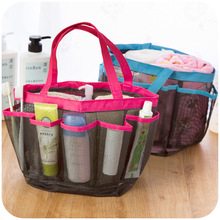 Thick double handles mesh wash bags bath bags, travel cosmetic finishing pouch bags