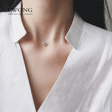 LWONG 925 Sterling Silver Pendant Necklace Transparent Invisible Fishing Line Shiny Cubic Zirconia Choker Necklaces & Pendants