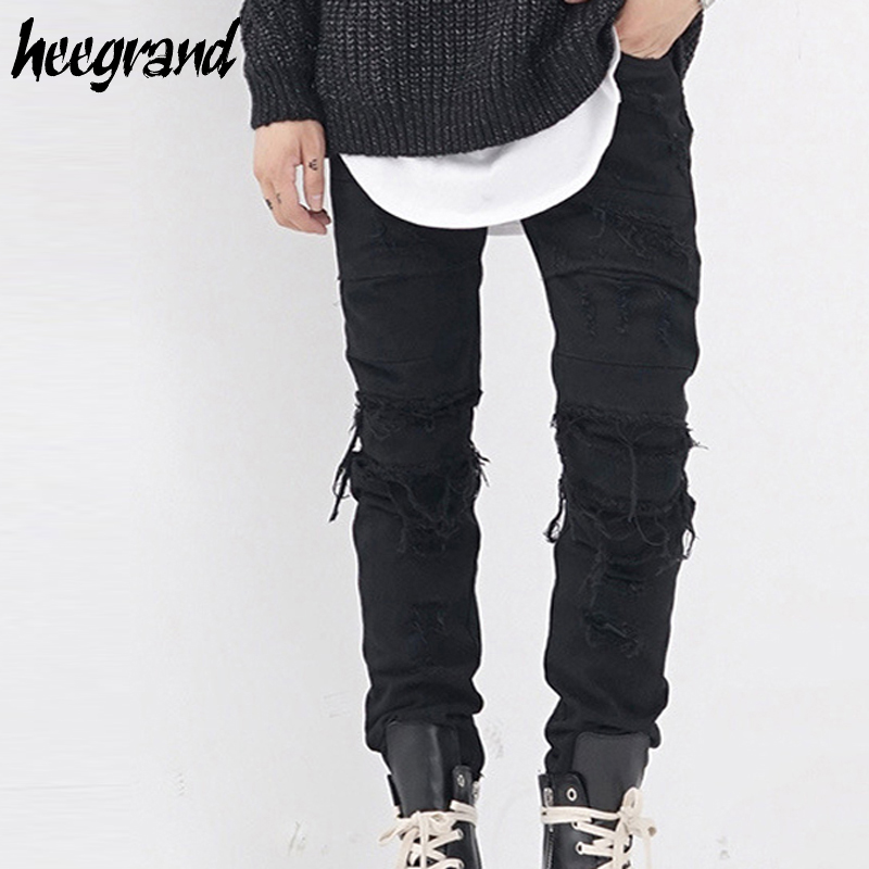 HEE GRAND Men Biker Jean 2017 New Fashion Mens Hip Hop Streetwear Skinny Jeans Male Destroyed Damage Hole Denim Jeans MKN947Îäåæäà è àêñåññóàðû<br><br>