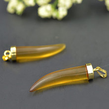 YA1248 Yellow Glass Horn Pendant 36x7mm