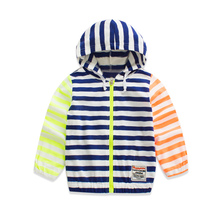 2016 Spring Spring Clothes Children's Garment Split Joint Loose Coat Male Zipper Even Hat Cardigan Jacket Unlined Upper Garment(China)