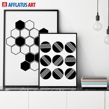 AFFLATUS Modern Classic Watercolor Circle Geometry Canvas Painting Wall Art Canvas Poster Wall Pictures Living Room Home Decor(China)