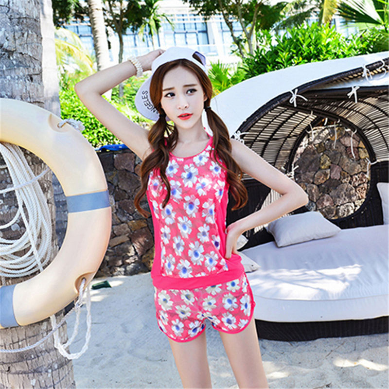 4pcs/set Push Up Swimwear Women Slim Boxer Short Swimsuit Print Bikini High Quality Nylon Halter Top Bathing Suit Beach Biquini<br><br>Aliexpress