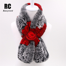 [Rancyword] Hot selling Winter Scarf For Women Real Rex Rabbit Fur Scarves Female Genuine Fur Shawl natural fur scarf RC1297(China)