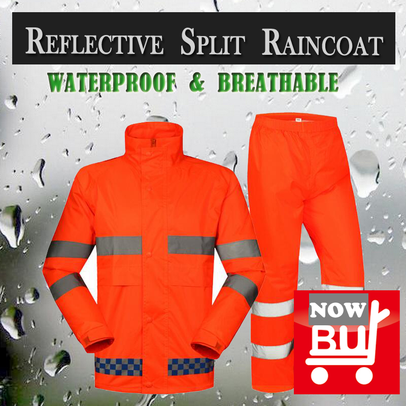 SPARDWEAR waterproof high visibility reflective safety rainsuit jacket and pant fluorescent orange split raincoat  free shipping<br>