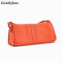 Gentlefans women's cross body bag soft leather small flap bags sweet lady messenger bag orange Shoulder bags Luxury Purses