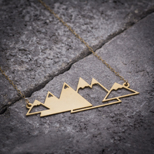 NianDi Hollow Out Mountain Necklace Unique Gold Necklace Pyramids Mountains Mujer Necklace&Pendants Party Accessories YLQ0546(China)