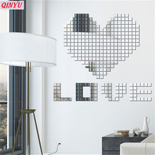 100pcs Acrylic Mirror Sticker Wall Square Wall Decor Decals Modern DIY Home Decor Wall Stickers for Kids Room home decor 9ZCF004