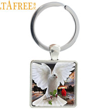 TAFREE Art Picture GEON BIRD Give Roses Keychain Valentine's Day Gift Ornament Of Love Jewelry Key Ring E397(China)