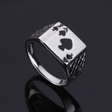 European Fashion Personality Spades A Poker Finger Rings Retro Heart-shaped Drops Oil Ring For Women Men Jewelry