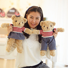 "1pcs 16"" 40CM Stuffed Soft Plush Toys Dressing Teddy Bear Toys Lovely Couple Teddy Bear Dolls Children's Gifts Girls Gifts"