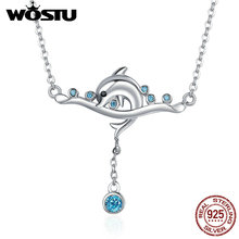 WOSTU Authentic 925 Sterling Silver Dolphin Love Story & Clear CZ Pendant Necklaces For Women Luxury Jewelry Bijoux CQN145(China)