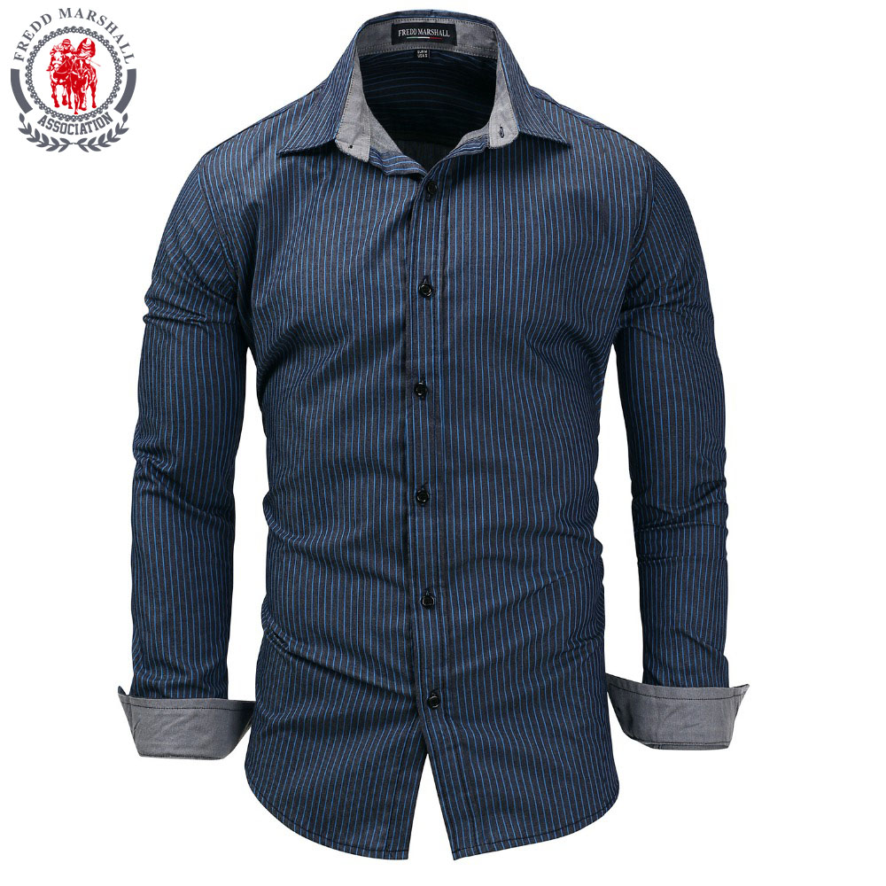 Fredd Marshall 2018 New Men's Casual Dress Shirt Long Sleeve Patchwork Plaid  100% Cotton Long Sleeve Chemise Homme
