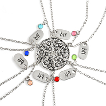 Miss Zoe 6pcs/set BFF Pizza Pendant Necklaces Friendship Necklace Best Friends Forever Colorful Rhinestone Gift For Friend(China)