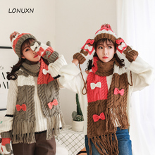 High quality 4 colors 3 pieces/lot new Hat + scarf + glove female Korean hooded collar winter warm and comfortable one gift set(China)
