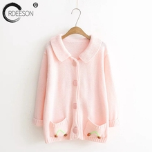 ORDEESON Doll Collar Solid Kawai Pink Fall Winter Cardigan Women Womens Sweaters 2017 Cardigans Jersey Blusas De Inverno Casual(China)