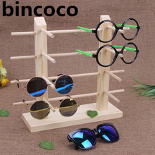 bincoco Double row frames wood display stand for glasses 3d-glass display frame Sunglasses display stand incorporating props(China)