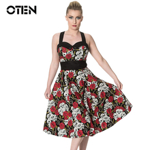 OTEN 2017 Summer Vintage Retro Skull Rose Floral Printed Rockabilly Skater pin up swing dress Plus size 4XL 5XL vestido de festa(China)