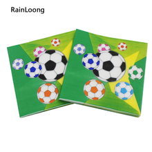 [RainLoong] Printed Football Paper Napkin Party Tissue Dinner Napkins Supply Party Decoration 33cm*33cm 20pcs/pack/lot(China)
