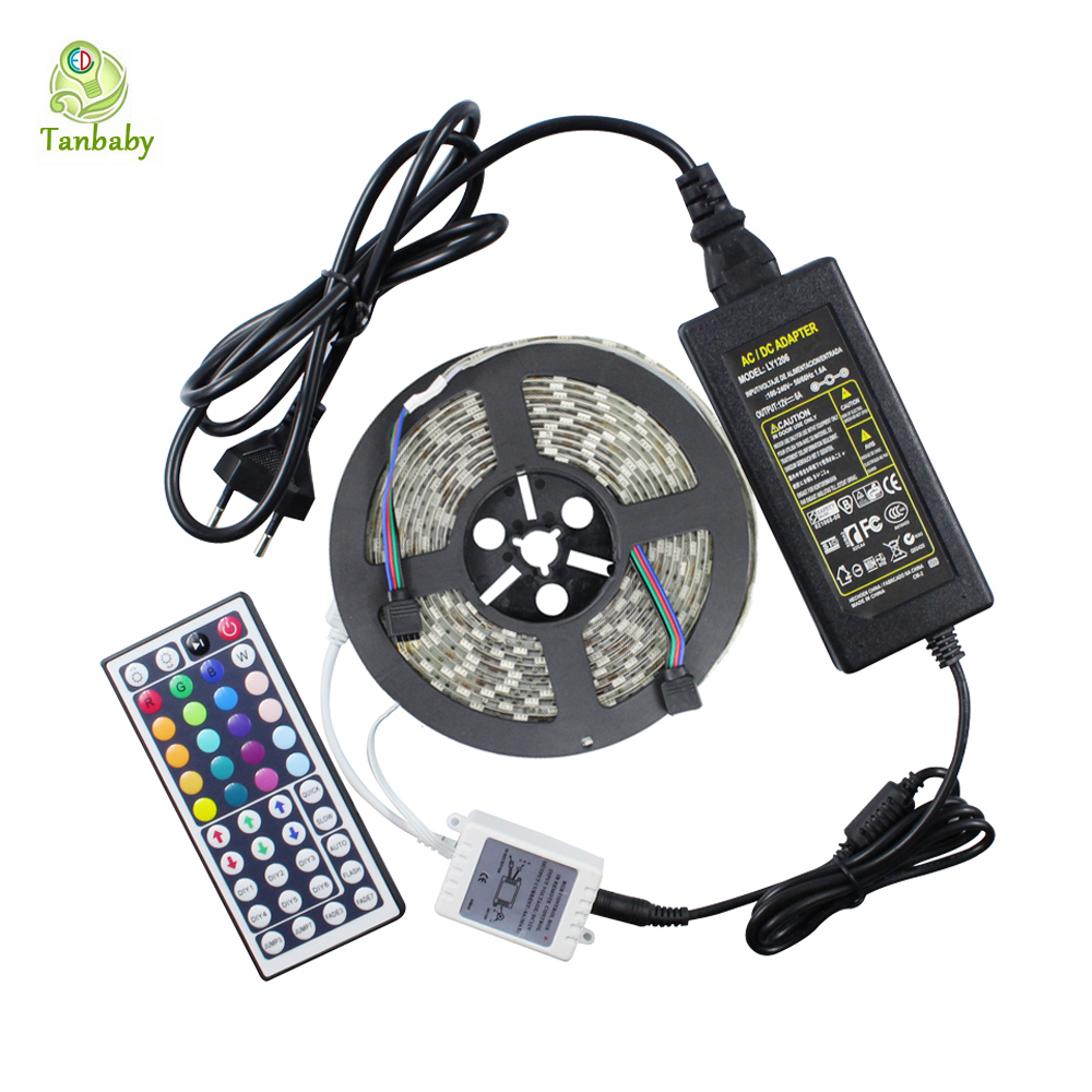 Tanbaby RGB Led Strip 5050 Waterproof flexible Rope + 44key RGB LED controller +12V 5A 60W Power adapter oudtoor lighting<br><br>Aliexpress