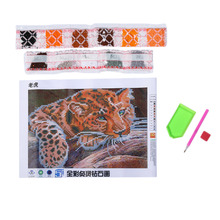 DIY Handmade Painting Lovely Small Tiger Pattern Full Round Resin Diamond Embroidery Cross Stitch Home Decorative Painting