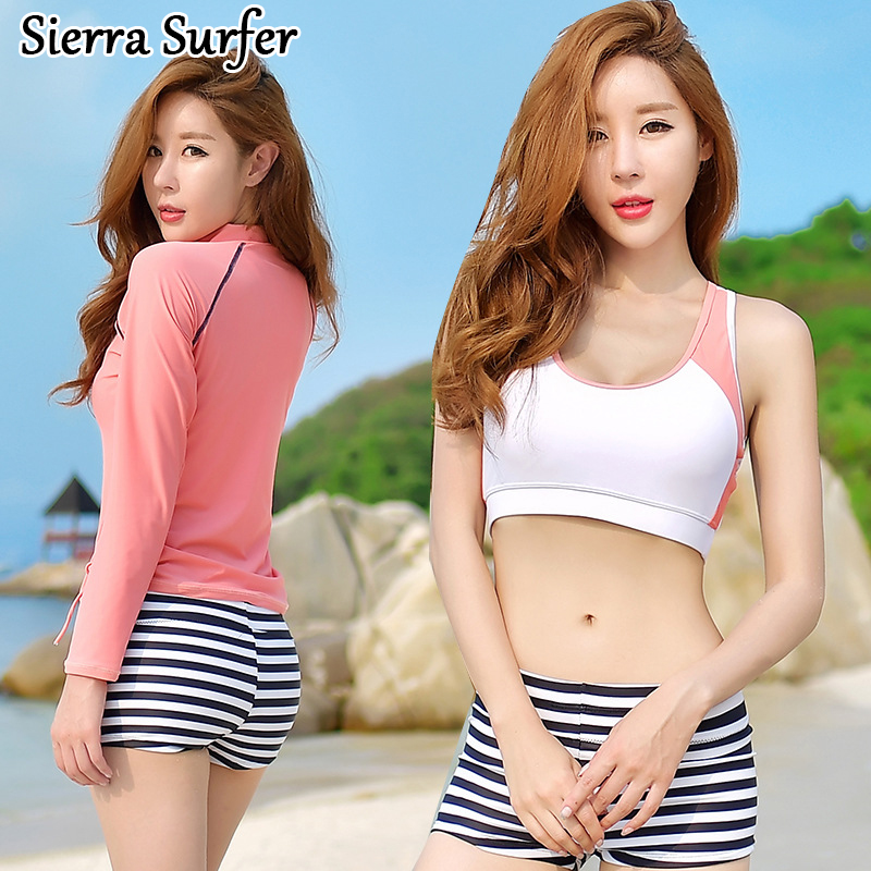 Swimming Suit For Women Swim Wear 2018 New Retro Bikini Set Top Cheap Sexy Bathing Suits Swimsuit Cover Lady Long Sleeve Sun<br>