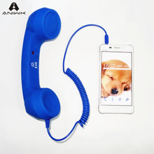 Aniwk Retro Headphone earpiece 3.5mm Handset Radiation-proof Microphone Earphone adjustable tone Cell Phone(China)