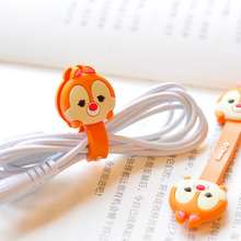 2 Pieces Cute Cartoon Anime Mobile Phone USB Cable Fastener Button Organizer Wire Protector Earphone Holder Kawaii line Winder