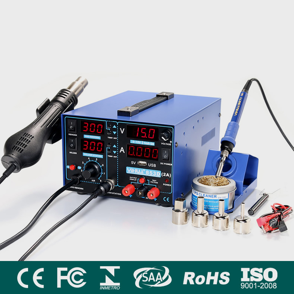 3 In 1 SMD Rework Soldering Station with Soldering Iron Hot Air Gun With 5V 2A USB DC Power Supply BGA Desoldering Welding Repair Tool 14