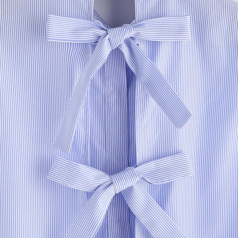Blue Striped Bow Tie Split Back Blouse Women 2017 Summer Sleeveless Ruffles Blouses Shirts Women Vintage Tops Blusas Female 4