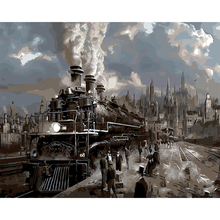Old train picture Cityscape diy painting by numbers hand painted canvas oil paintings coloring by numbers canvas art decoration
