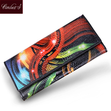 Women Wallets Genuine Leather Ostrich Medium-Long Organizer Wallet Plastic Surface Vintage Lady Clutch Carteira Feminina Purse(China)