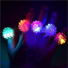 50pcs/lot LED Light Strawberry Flashing Finger Ring, Elastic Rubber Ring, Event Party Supplies Glow Toys(China)